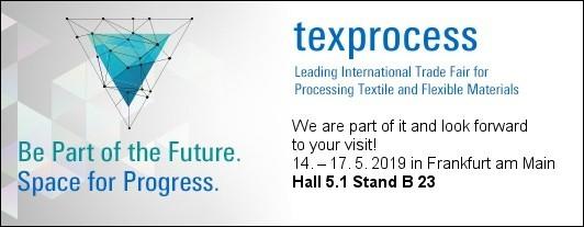 Besuchen Sie uns auf der texprocess 2019 in Frankfurt